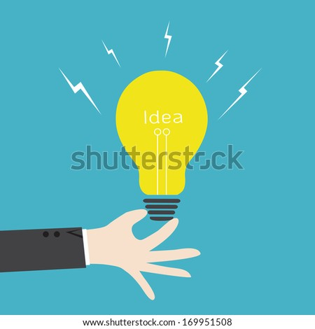 hand hold idea lightbulb vector