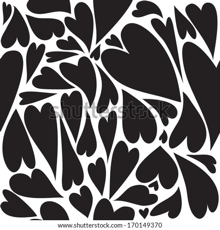 black hearts seamless pattern