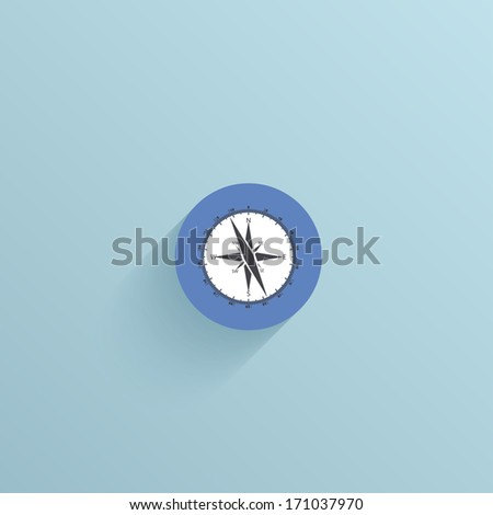 vector flat circle icon on blue