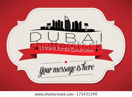 dubai city greeting card design