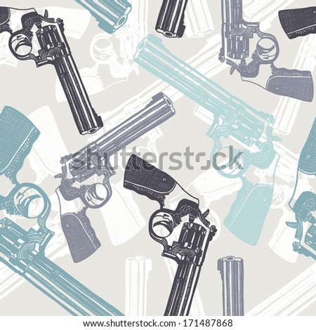 vector seamless pattern of guns