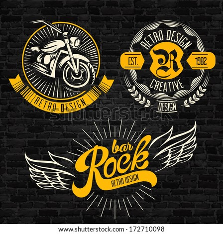 rock themed badges vector