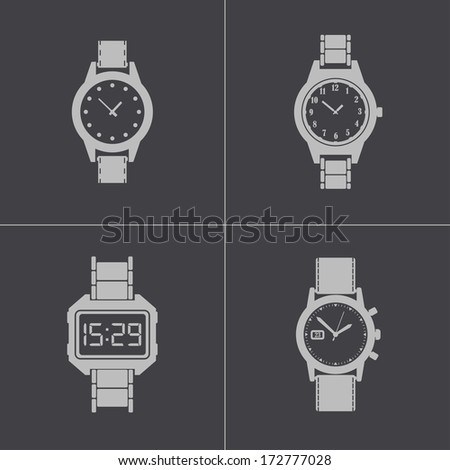 vector black wristwatch icons