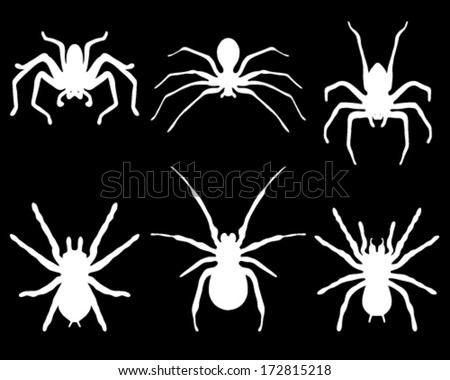 white silhouettes of spiders on