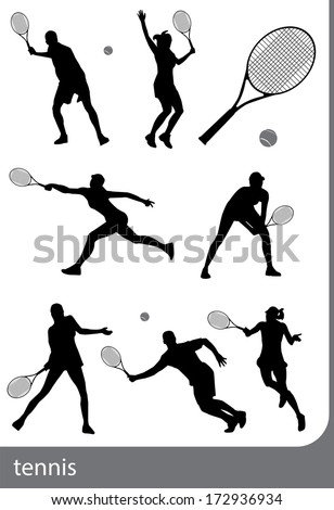 tennis silhouette set  isolated
