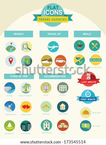 flat icon collection for travel