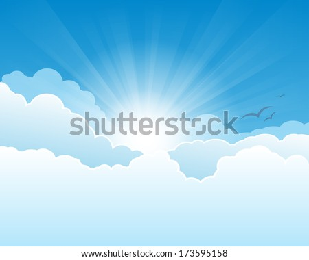 sky with clouds  and sun with