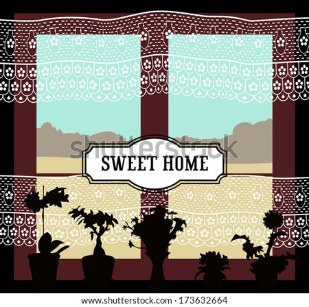 nostalgic window vector