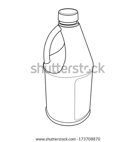 chemical bottle out line vector