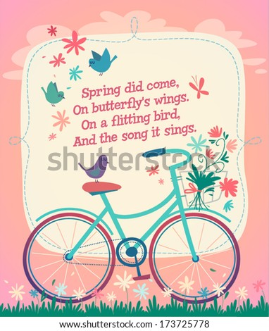 bicycle on the spring field
