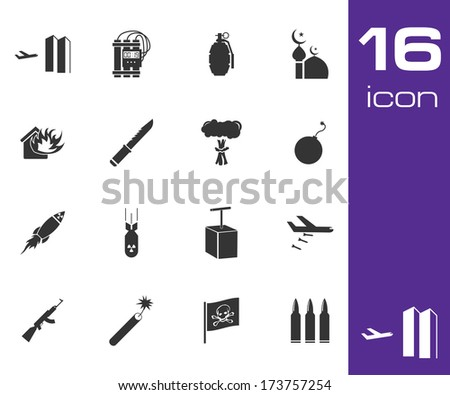 vector black  terrorism icons
