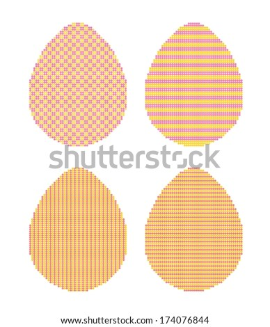 four easter eggs made from dots