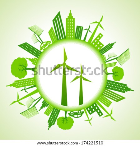 eco cityscape with wind mill