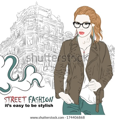 fashion girl with glasses on