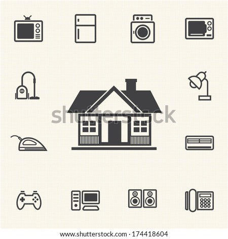 house appliances icons set