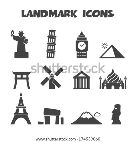 landmark icons  mono vector