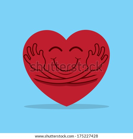 large cartoon heart hugging