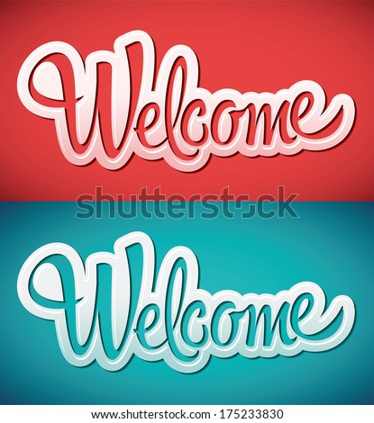 welcome   lettering vector