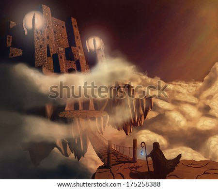 dark castle in clouds