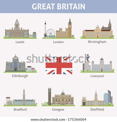 uk symbols of cities vector