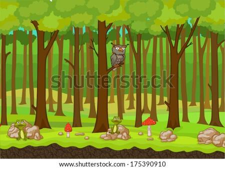 cartoon forest background vector