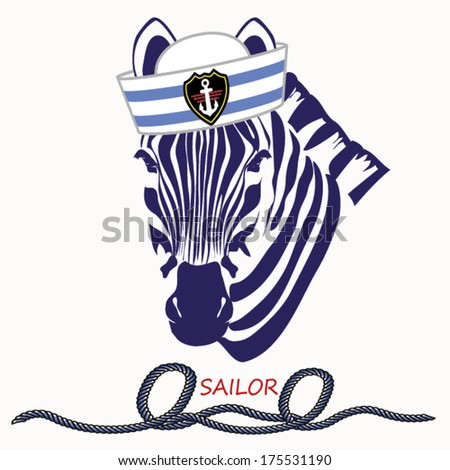 zebra sailor  sailor vector