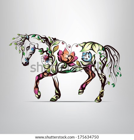 horse silhouette of floral