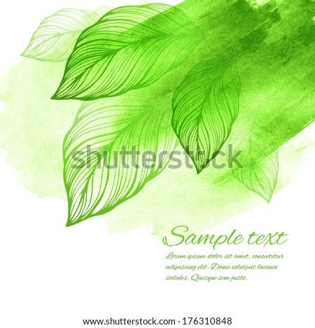 watercolor green leaf design