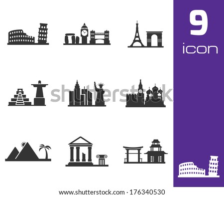 vector black landmarks icons