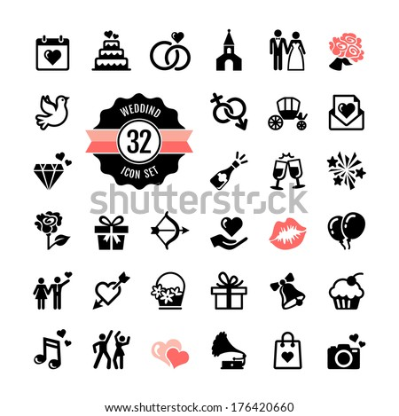 web icon set   wedding
