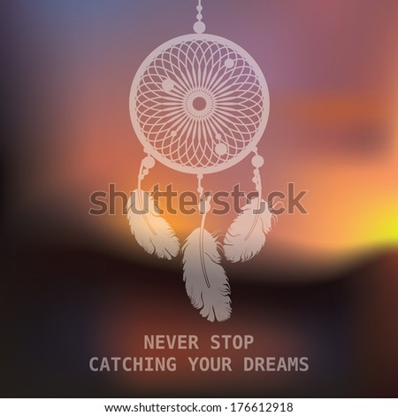 dream catcher on sunset blurred