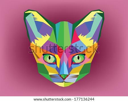 cat head geometric style