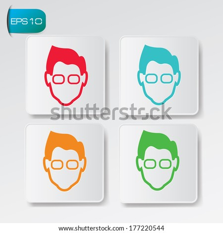 geek avatar buttons vector