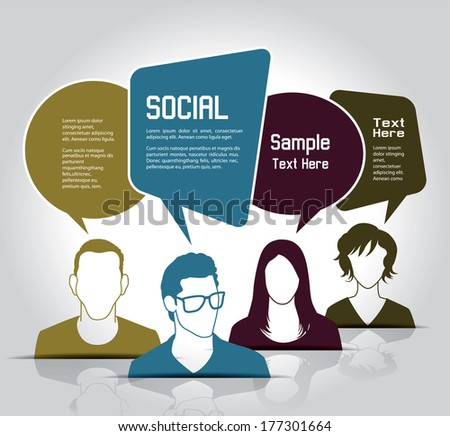 social media icons with group