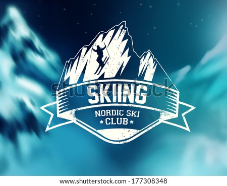 skiing vector label
