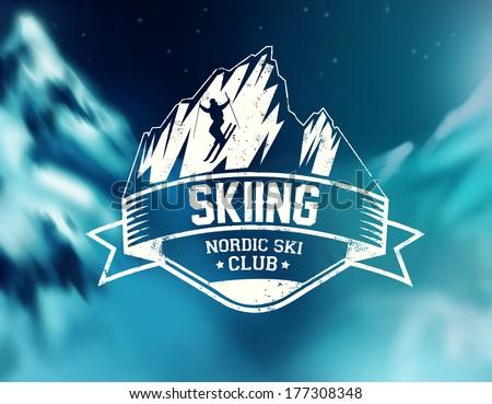 skiing vector label