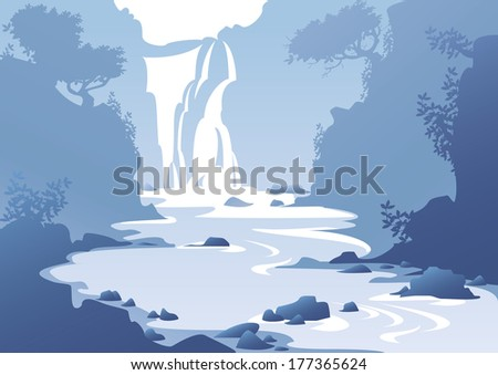 blue mountain landscape with a