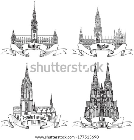 german city travel symbol set
