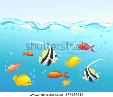 coral fish under water vector