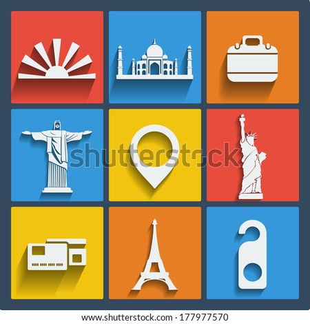 set of 9 vector travel web and