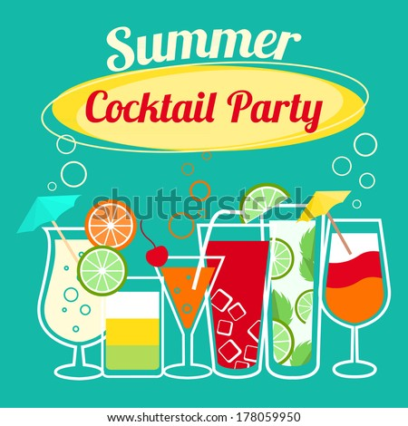 Cocktail party invites free vector download 3196 Free vector – Cocktail Party Invitation Template