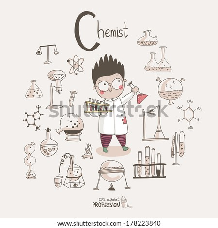 cute vector alphabet profession