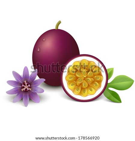 whole passion fruit with slice