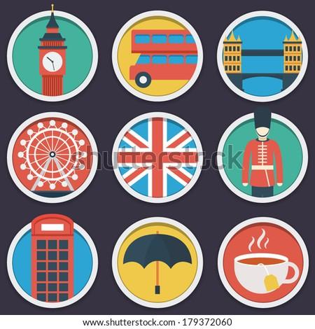 london flat circle icon set