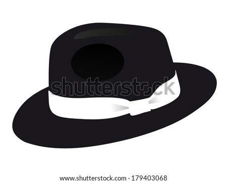 black fedora men hat  isolated