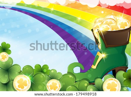 rainbow and  leprechaun shoe