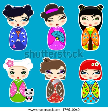 vector set n 3 of cute kokeshi