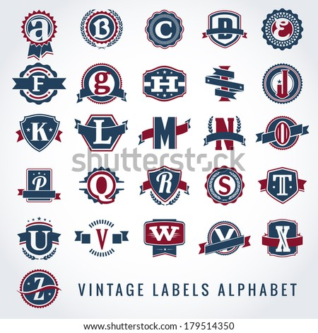 set of vintage labels alphabet
