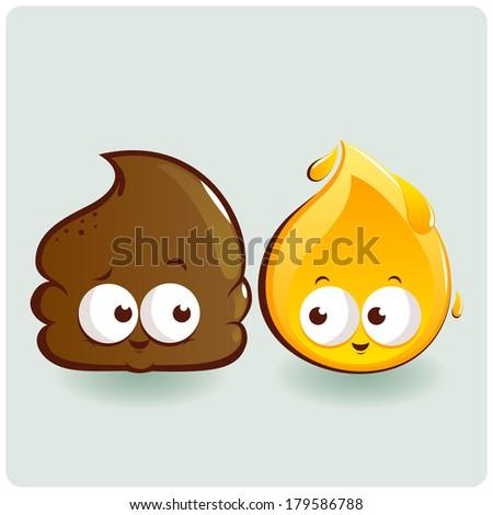 cute poop and pee characters