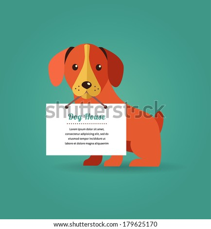 dog holding sign   vector set